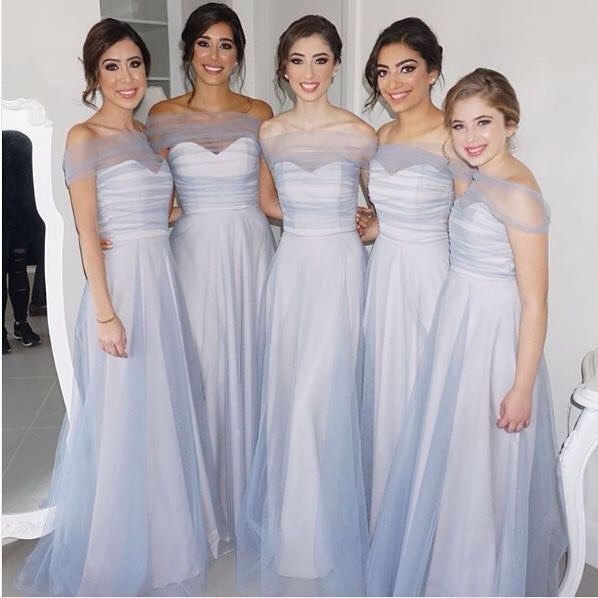 Off the shoulder Tulle Long Bridesmaid Dress Party Dress,Long Bridesmaid Dresses,Sexy Bridesmaid Dress,122324