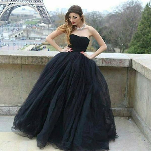 Modern Ball Gown Strapless Black Tulle Long Prom/Evening Dress,812019