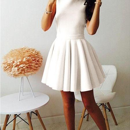 A-Line Round Neck Sleeveless White Satin Short Homecoming Dress,Cheap Homecoming Dress,Short Homecoming Dress,862303