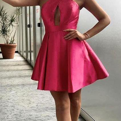 Halter Short Prom Homecoming Dress Satin Party Dress,Cheap Homecoming Dress,Short Homecoming Dress,862307