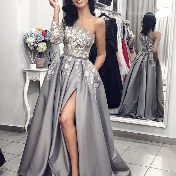 Fashion Grey One Shoulder Long Sleeve Lace Prom Dress,Split Evening Dress with Pockets,Sexy Evening Dress,Fashion Prom Dress,8121512