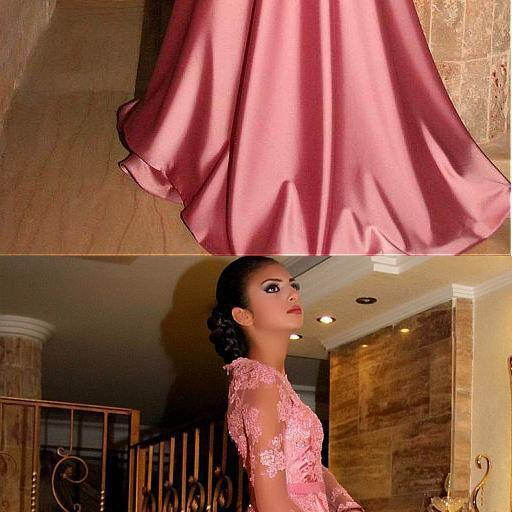 Gorgeous Satin Jewel A-Line Long Sleeves Pink Prom Dresses With Lace Appliques, long prom dress, evening dress,Sexy Evening Dress,Fashion Prom Dress,921801