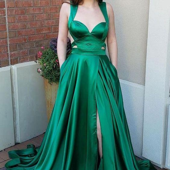 Elegant Green Straps Long Split Side Prom Dress,Elegant Long Party Dress, Sexy Evening Dress,Fashion Prom Dress,950205