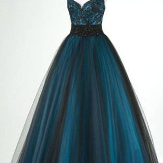 Black tulle blue satin lace V-neck long dresses,cute homecoming dresses,4257