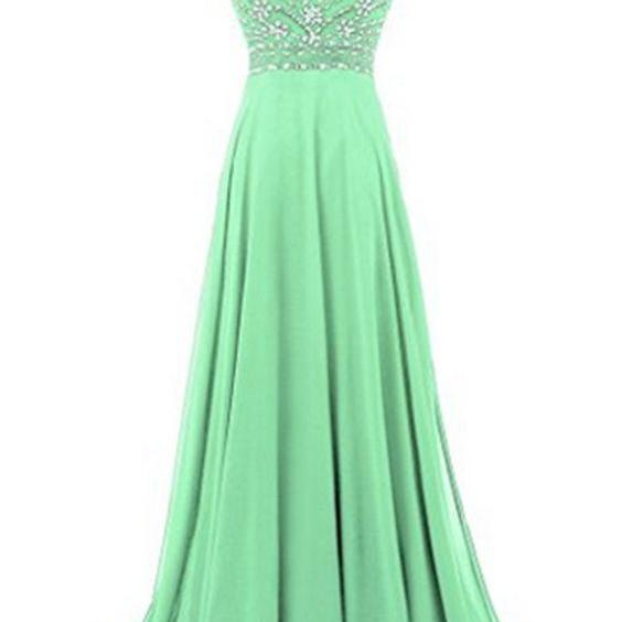 Green chiffon round neck sequins beaded A-line long prom dresses,4258