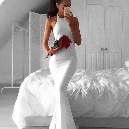 white mermaid party dresses, sexy backless evening gowns, chic cheap prom dresses,42510