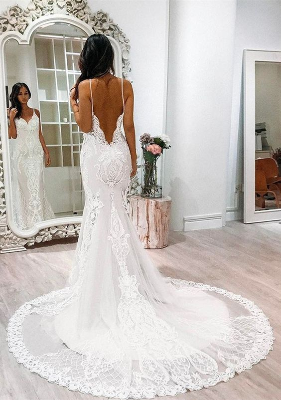 Mermaid Wedding Dress Spaghetti Straps Court Train Backless White Tulle Liques Lace Bridal Gown Gowns 810601